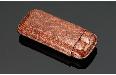 Lizard Print Leather cigar case (2 sticks)