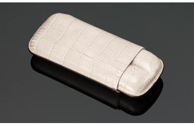 Croco Print Leather cigar case (2 sticks)