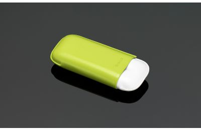White cigar case with lime green cover